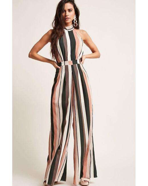 2dfc1ca0e359 Forever 21 - Multicolor Stripe Mock Neck Jumpsuit - Lyst ...