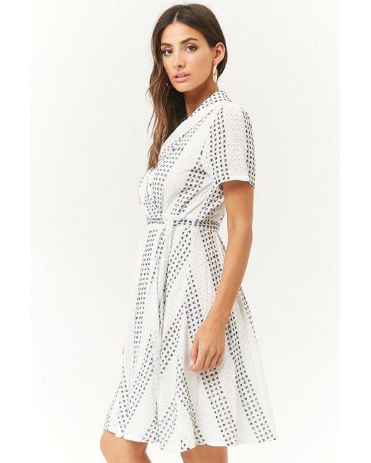 8989b58b6f9 ... Forever 21 - White Striped Eyelet Wrap Dress - Lyst