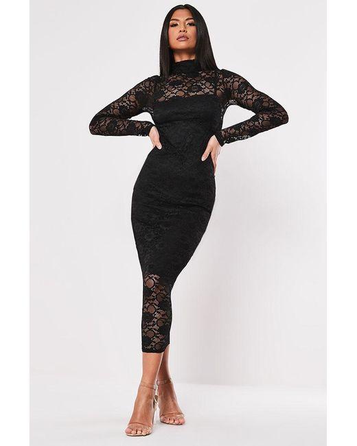 Missguided - Lace Midi Dress At , Black - Lyst
