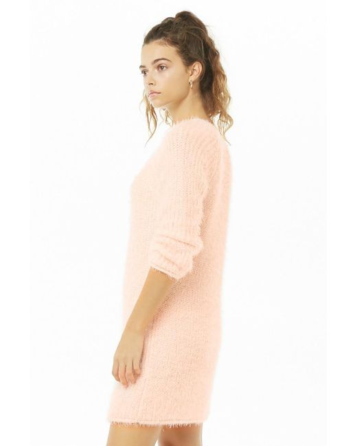 a25dbcb2050 ... Forever 21 - Pink Fuzzy Knit Dress - Lyst
