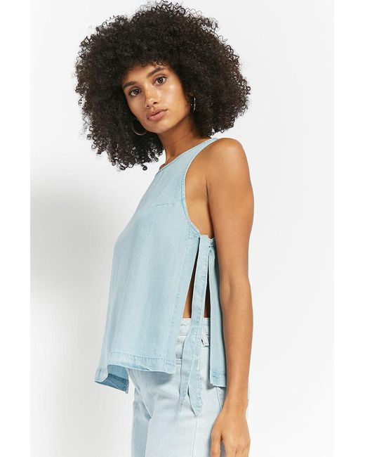 Forever 21 - Blue Chambray Self-tie Top - Lyst