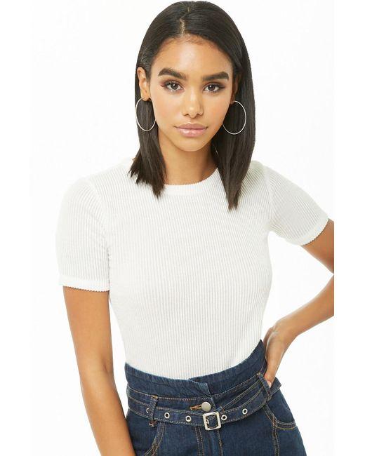 Forever 21 - White Women's Ribbed Knit Tee Shirt - Lyst