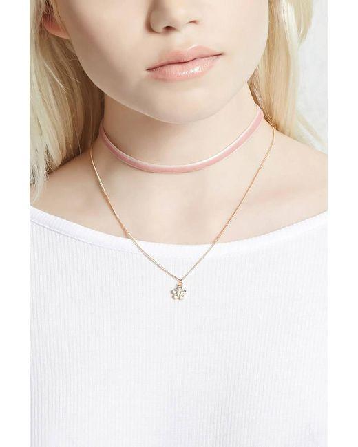 Forever 21 | Multicolor Flower And Velvet Necklace Set | Lyst