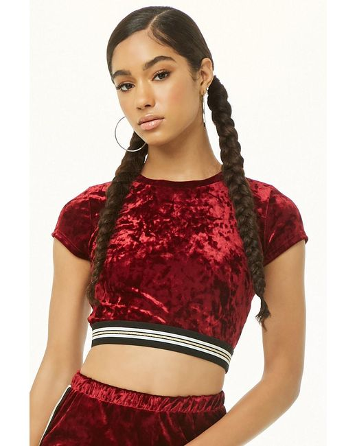 ac5429d41e6d5f Forever 21 - Red Velvet Striped-trim Crop Tee - Lyst ...