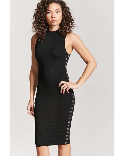 Forever 21 | Black Hook-eye Ribbed Dress | Lyst