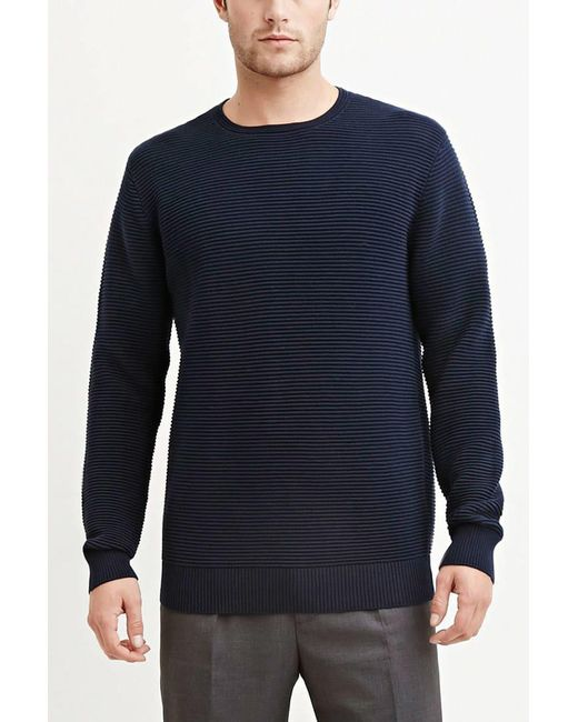Forever 21 - Blue Ribbed Cotton Sweater for Men - Lyst