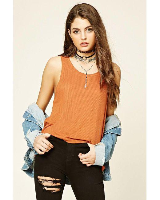 Forever 21 | Orange Ribbed Knit Tank | Lyst
