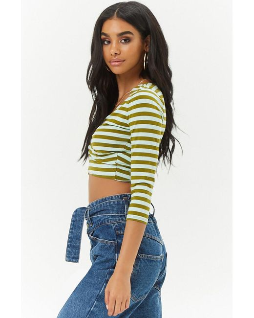 d80fdf582d ... Forever 21 - Green Striped Cross-front Crop Top - Lyst