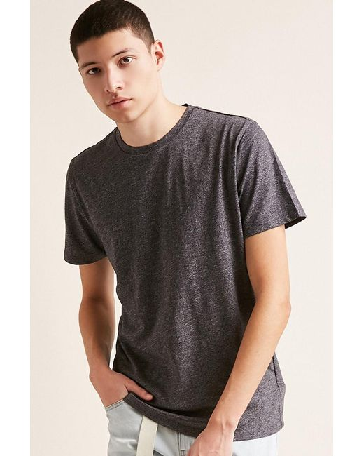 Forever 21 - Gray 's Marled Crew Neck Tee Shirt for Men - Lyst