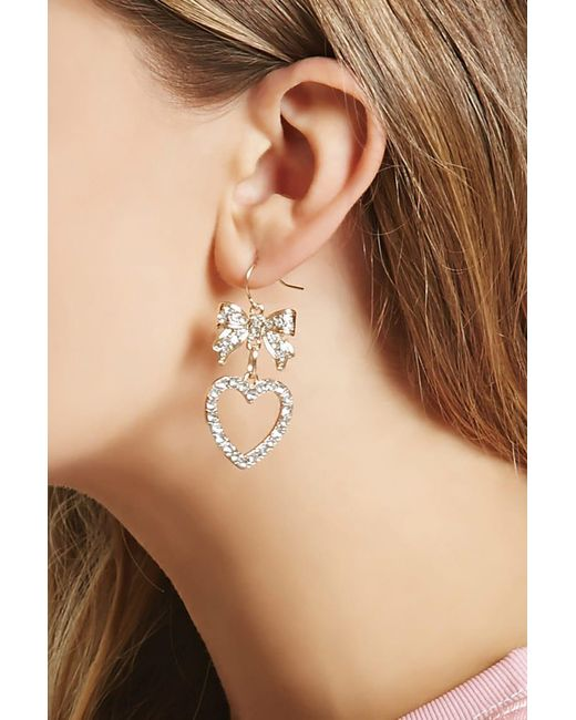 Forever 21 | Metallic Rhinestone Bow Drop Earrings | Lyst