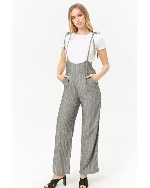 Forever 21 - Black Pinstriped Suspender Pants - Lyst