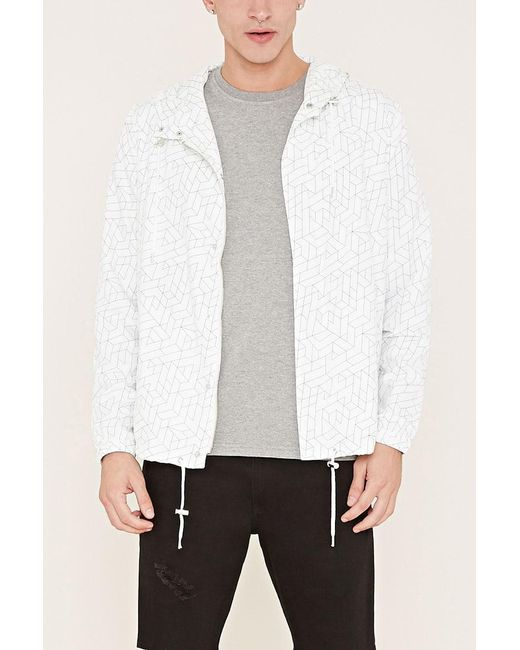 Forever 21 | Natural Hooded Abstract Print Jacket for Men | Lyst