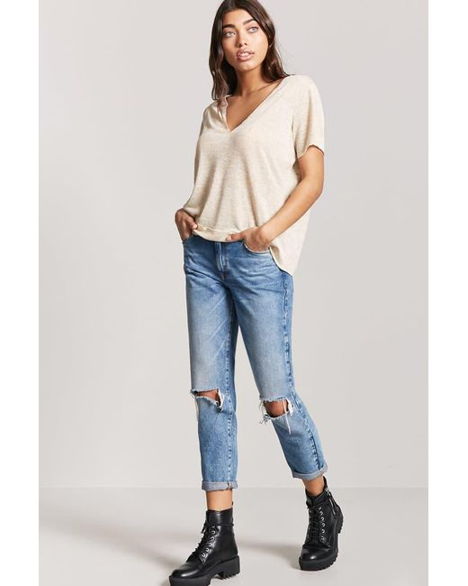 Lyst Forever 21 Plunging Heathered Knit Top In Natural