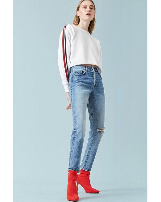 66e12447cb41 Forever 21 - Blue High-rise Knee-slit Mom Jeans - Lyst ...