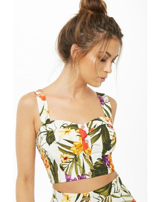 Forever 21 - Green Tropical Print Crop Top - Lyst