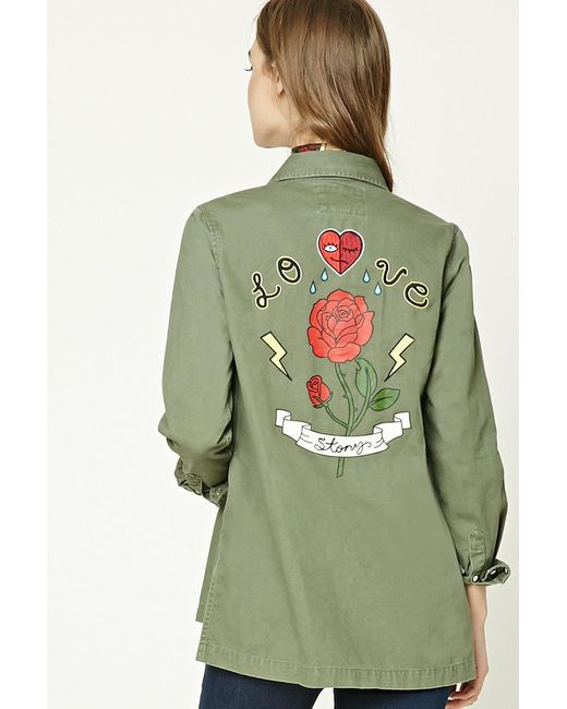 Forever 21 | Green Love Story Graphic Jacket | Lyst