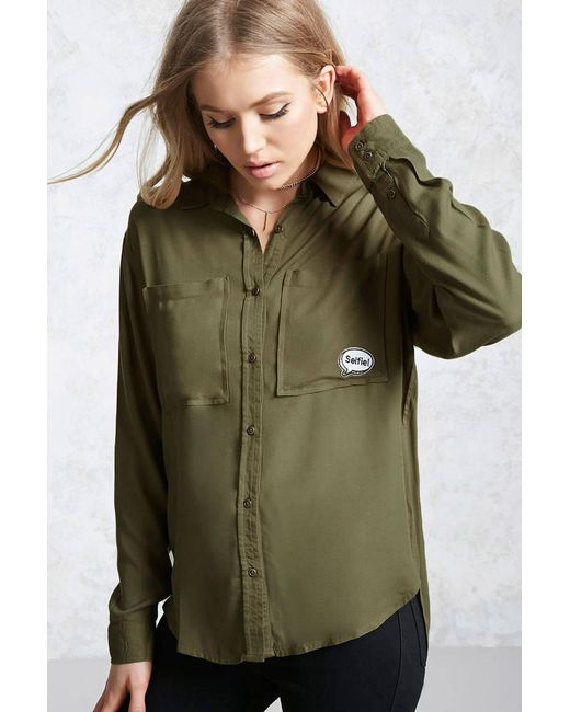 Forever 21 - Green Selfie Patch Pocket Shirt - Lyst