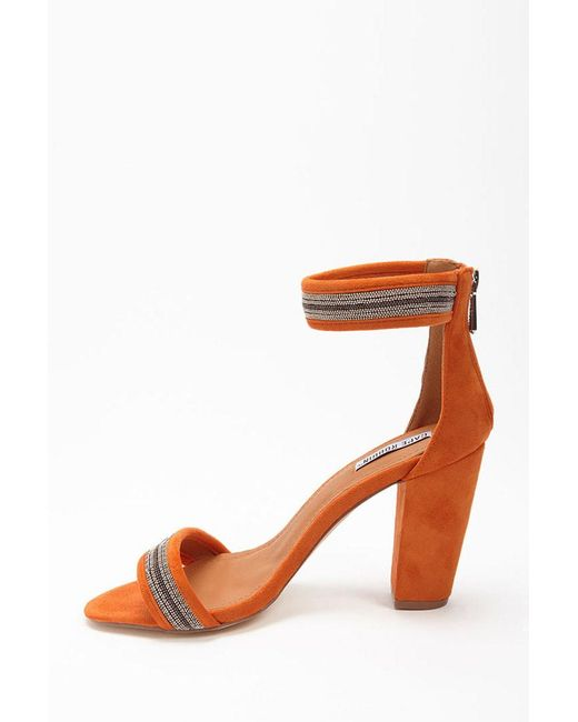 Forever 21 - Orange Bead Chain Faux Suede Heels - Lyst