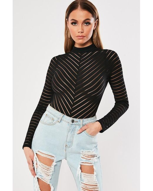 Missguided - Black Shadow-striped Bodysuit At - Lyst