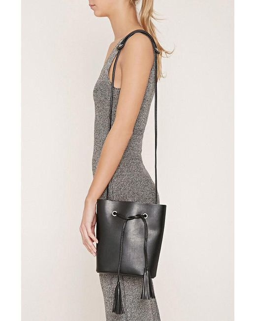 Forever 21 | Black Faux Leather Bucket Bag | Lyst