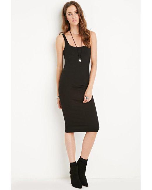 Forever 21   Black Midi Bodycon Dress   Lyst