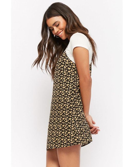 790be8cef02 ... Forever 21 - Black Sunflower Print Mini Dress - Lyst