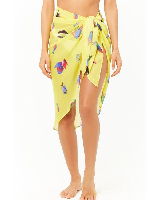 e45e4ef61e Forever 21 Fish Print Sarong Swim Cover-up in Yellow - Save 53% - Lyst