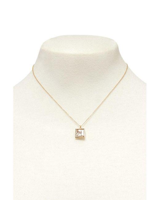 FOREVER21 - Metallic Cz Stone Pendant Necklace - Lyst