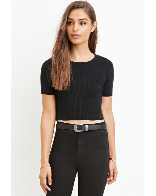 Forever 21 | Black Ribbed Knit Cropped Top | Lyst