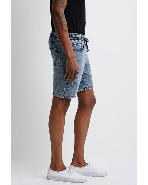 Forever 21 - Black 's Acid Wash French Terry Sweatshorts for Men - Lyst
