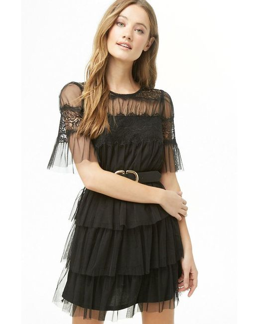 Forever 21 - Black Sheer Tiered-ruffle Dress - Lyst