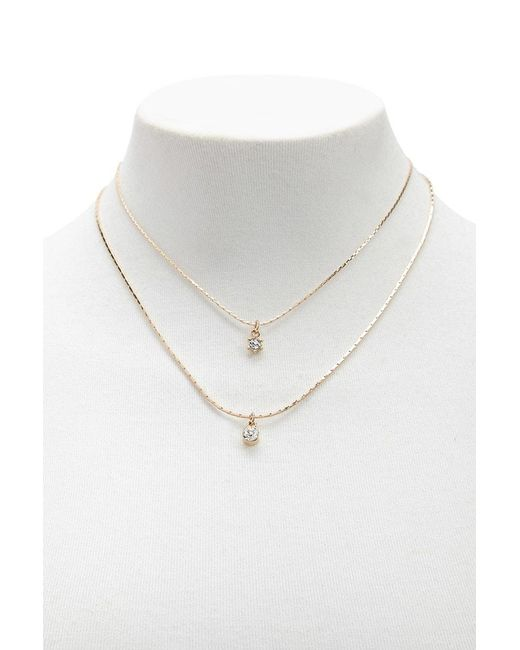 Forever 21 - Metallic Rhinestone Drop Necklace Set - Lyst