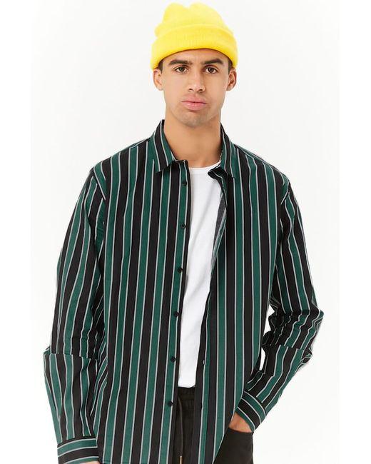 Forever 21 - Green 's Striped Slim-fit Shirt for Men - Lyst