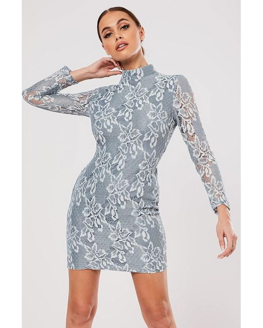 Missguided - Blue Lace Mini Dress At - Lyst