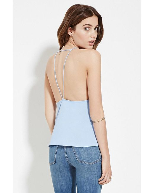 Forever 21 - Blue Strappy Open-back Cami - Lyst