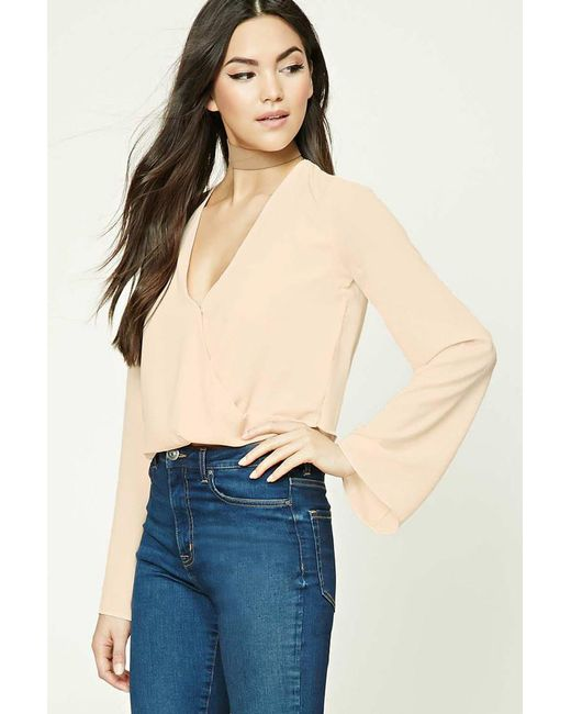 Forever 21 | Pink Bell-sleeve Surplice Blouse | Lyst