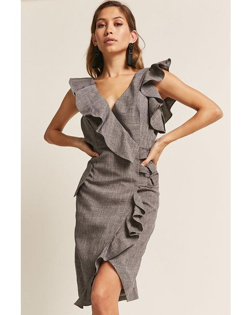 695afc46819 Forever 21 - Gray Ruffle Surplice Dress - Lyst ...