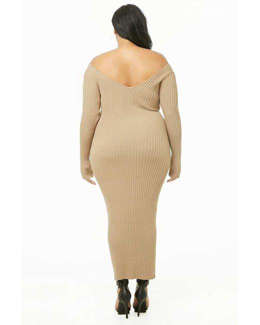 Forever 21 Women\'s Plus Size Bodycon Midi Dress in Natural ...