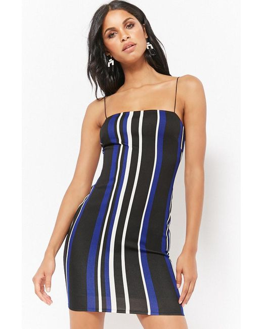 Forever 21 - Blue Striped Bodycon Cami Dress - Lyst
