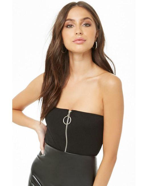 552f3ecb97 Forever 21 - Black Zippered Cropped Tube Top - Lyst ...