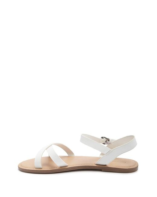 4224e6b69fe ... Forever 21 - White Women s Faux Leather Crisscross Strap Sandals ...
