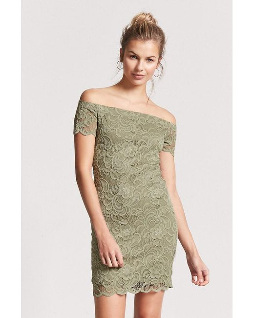20008330c182 Forever 21 - Green Lace Off-the-shoulder Bodycon Dress - Lyst ...