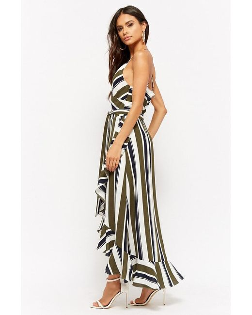 3244c718cb11e ... Forever 21 - Blue Striped Maxi Dress - Lyst
