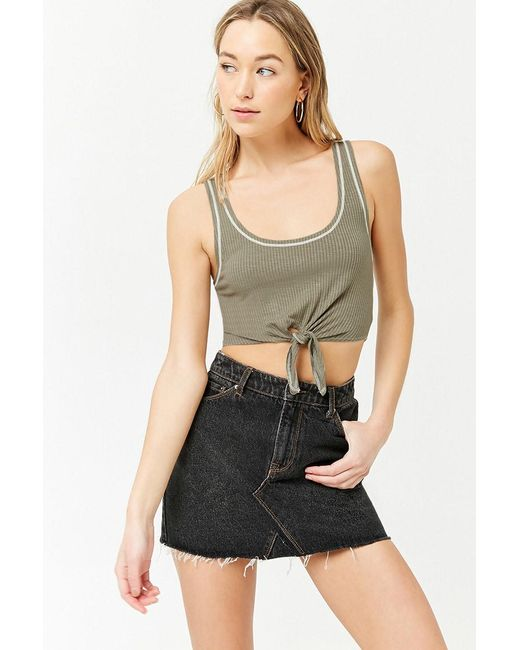 Forever 21 - Green Tie-front Cropped Tank - Lyst