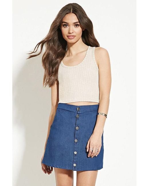 Forever 21 | Brown Ribbed Crop Top | Lyst