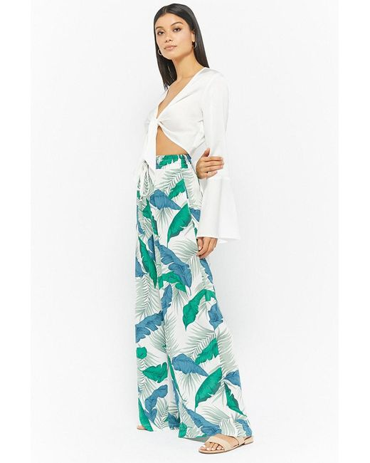 Forever 21 - Green Palm Leaf Palazzo Pant - Lyst