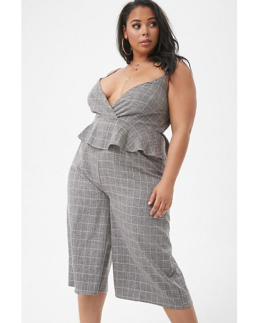 d9e9eaf442e1 ... Forever 21 - Black Women s Plus Size Marled Slub Woven Grid Peplum  Culotte Jumpsuit - Lyst