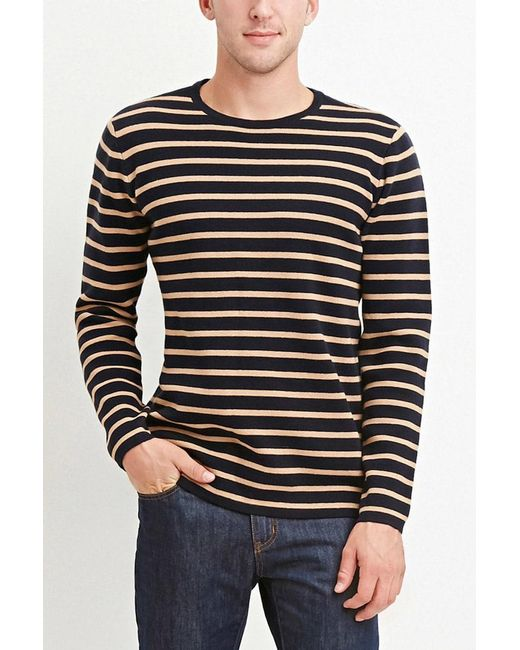 Forever 21 - Blue Stripe-patterned Cotton Tee for Men - Lyst