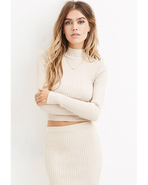 Forever 21 | Natural Ribbed Knit Mock Neck Jumper | Lyst