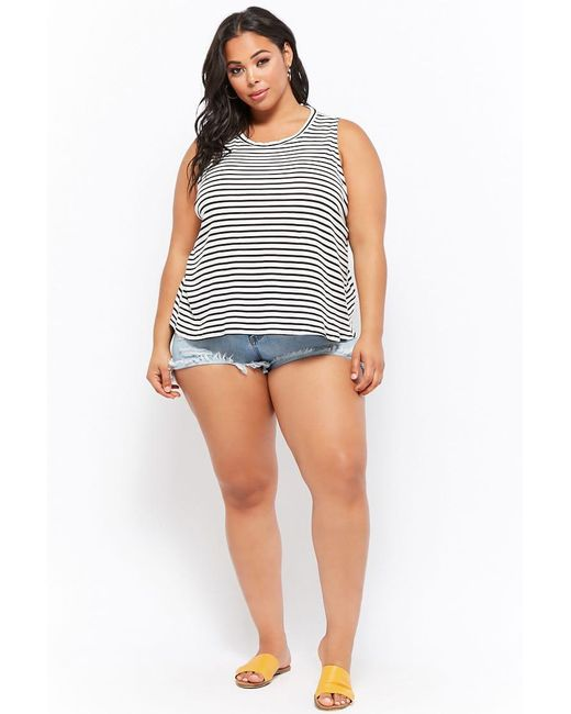 cdbc7cb842 ... Forever 21 - Black Plus Size Striped Cutout Tank Top - Lyst